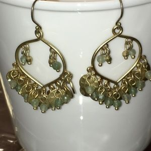 Jewelry - Gold with Green Beads Chandelier Earrings